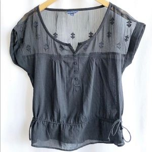 American Eagle Outfitters Black Sheer Top